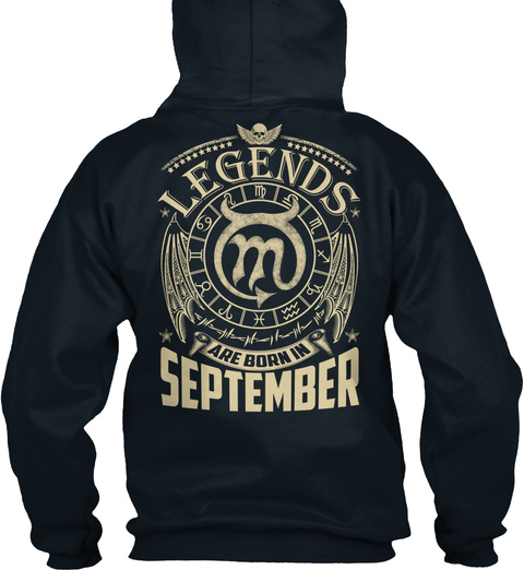 Legends Are Born In September French Navy Sweatshirt Back