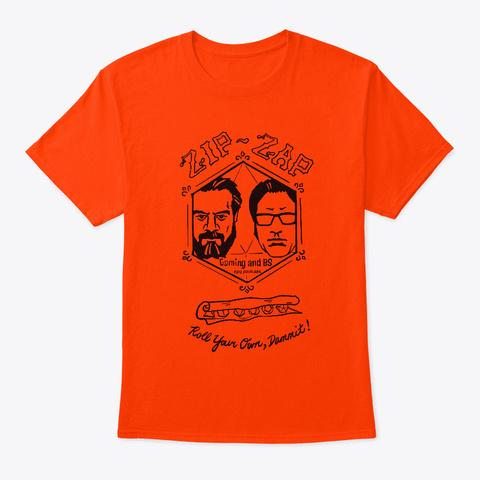 Zip Zaps (Black) Orange T-Shirt Front