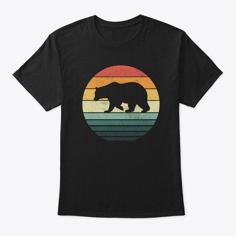 Bear Sunset Retro Vintage 70s Animal Black T-Shirt Front