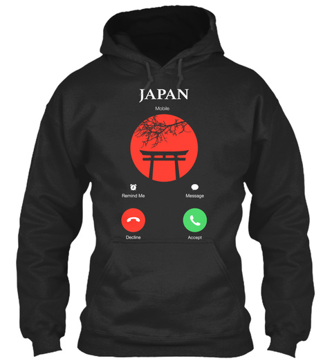Japan Mobile Remind Me Message Decline Accept Jet Black T-Shirt Front