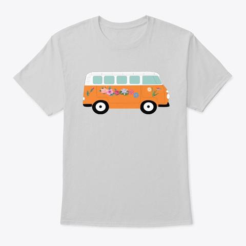 Floral Bus   Van Life Light Steel T-Shirt Front