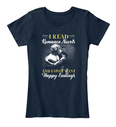 Romance Novel   Happy Endings Women New Navy T-Shirt Front