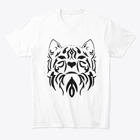 Black Tribal Cat White T-Shirt Front