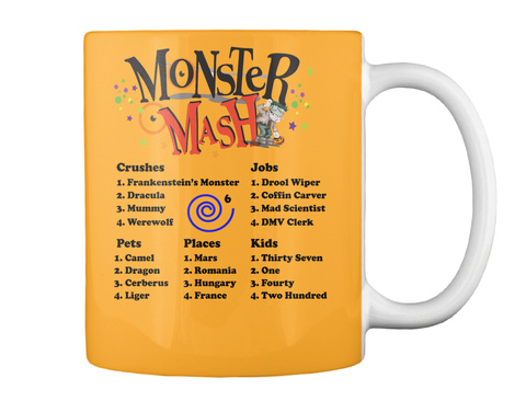 Monster Mash Crushes  Jobs Pets Places Kids Athletic Gold T-Shirt Back