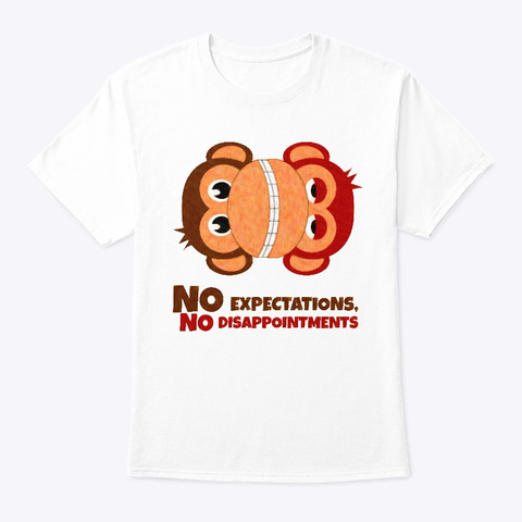 No Expectations Monkeys White T-Shirt Front