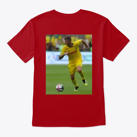 Emiliano Soccer Deep Red T-Shirt Back