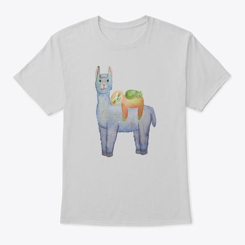 Llama, Sloth And Cat Watercolor Cute Light Steel T-Shirt Front