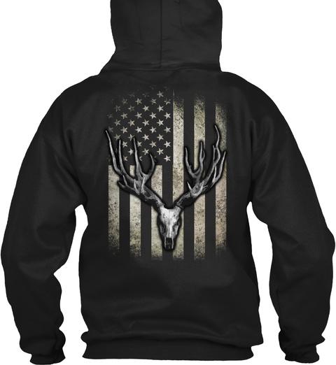 Faded Deer Skull Flag Black T-Shirt Back