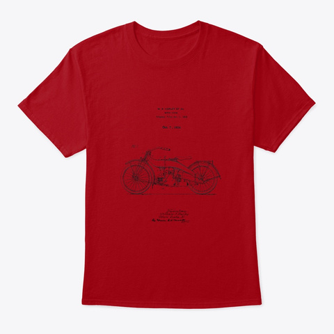 Motorcycle 1924 Lite Colors. Deep Red T-Shirt Front