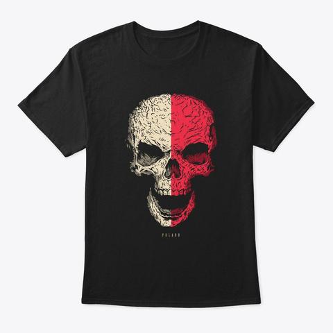 Skull Poland Flag Skeleton Black T-Shirt Front