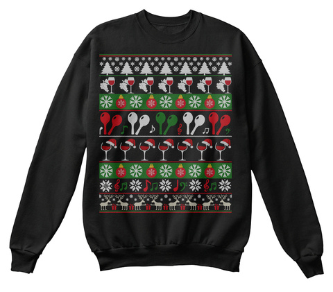 Maracas Wine Ugly Christmas Sweater Gift Jet Black T-Shirt Front