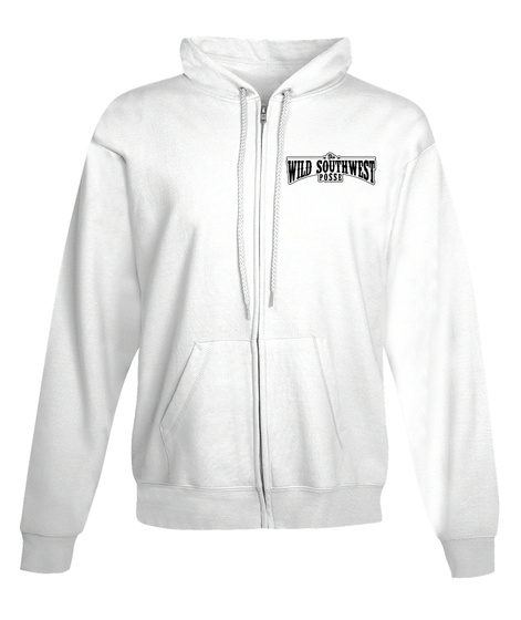 Wild South West Zip Up Hoodie Arctic White T-Shirt Front
