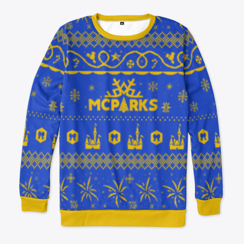 """Mc Parks """"Ugly"""" Christmas Sweater Royal Blue T-Shirt Front"""