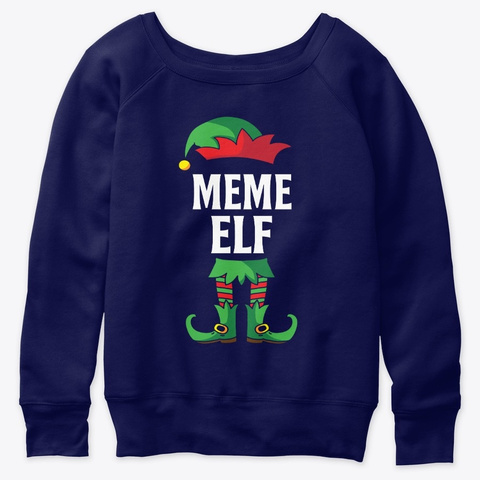 Meme Elf Costume Family Christmas Navy  T-Shirt Front