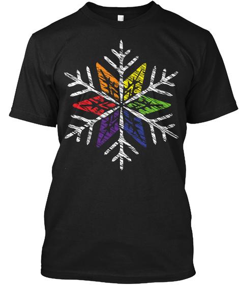 Lgbt Snowflake Black T-Shirt Front