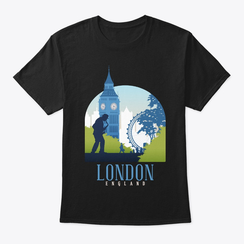 England Skyline London Souvenir Gifts Black T-Shirt Front