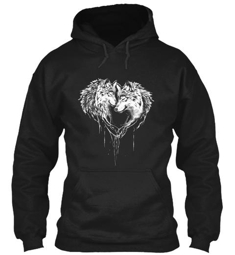 Love Wolf 3 Black T-Shirt Front