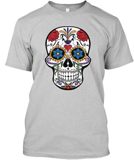 Hipster Floral Skull T Shirt Light Steel T-Shirt Front