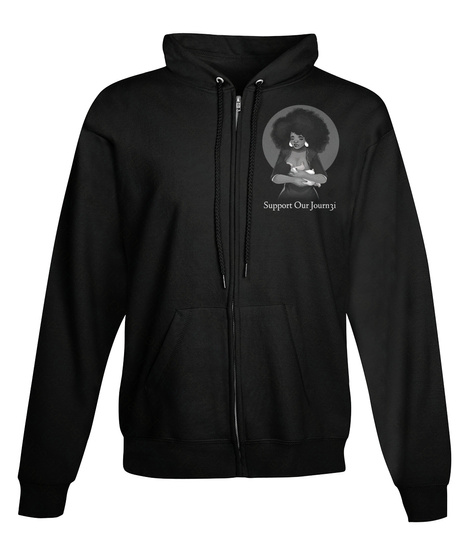 Support Over Journ Ji Black Sweatshirt Front