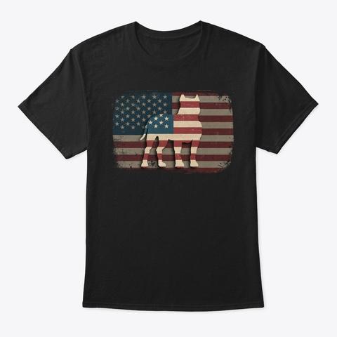 Vintage American Flag Pit Bull Gift Black T-Shirt Front