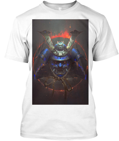 Blue Samurai White T-Shirt Front