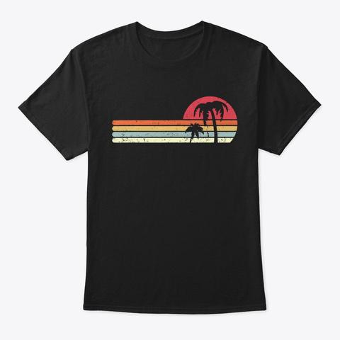Palm Tree Retro Style Tropical Beach Tee Black T-Shirt Front