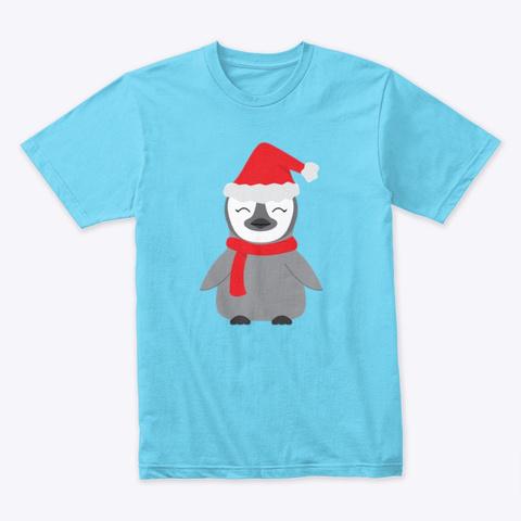 Cute Holiday Penguin Illustration Tahiti Blue T-Shirt Front