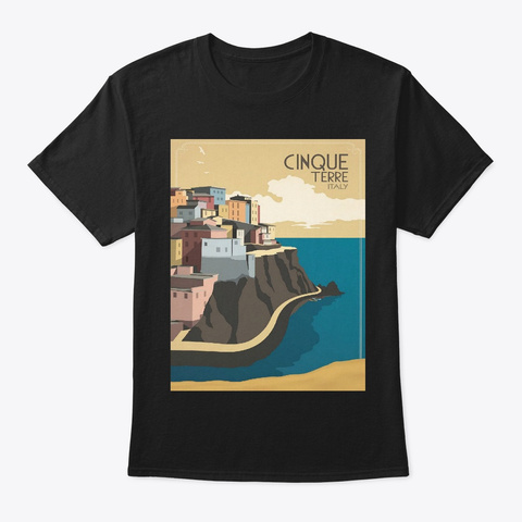 Cinque Terre Black T-Shirt Front