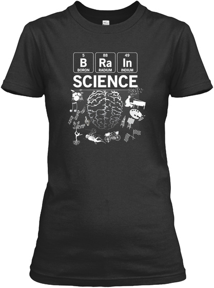 Science Mind Water Reflect Funny Teacher Black T-Shirt Front