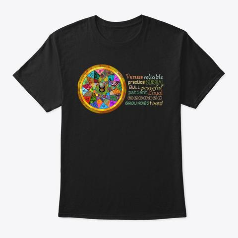 Taurus Astrology Mandala Shirt Black T-Shirt Front