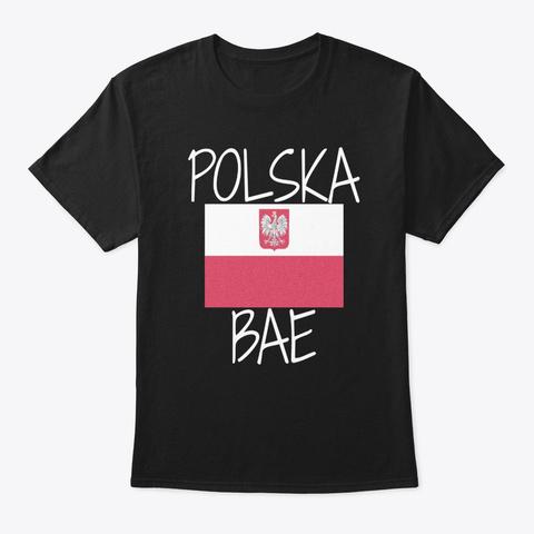 Polska Bae Solidarnosc Polish Flag  Black T-Shirt Front