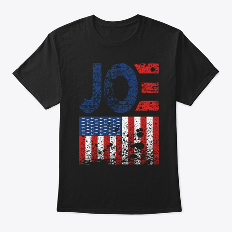 Biden Vintage Retro Distressed Usa Flag Black T-Shirt Front