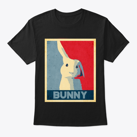 Cool Bunny Propaganda Poster Style Black T-Shirt Front