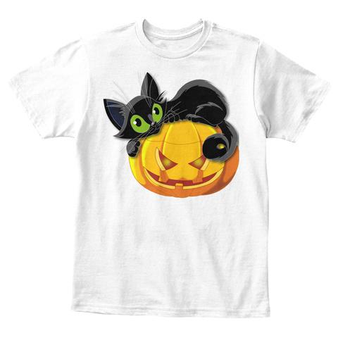 Halloween Latent Pumpkin T Shirt Mugs White T-Shirt Front