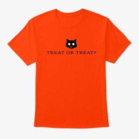 Treat Or Treat Halloween Cat Orange T-Shirt Front