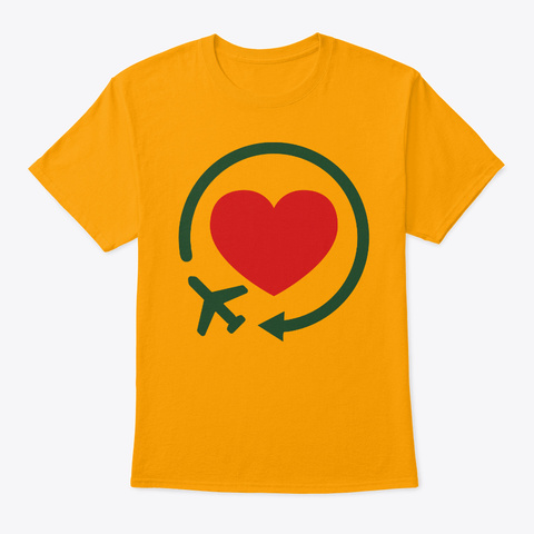 Holiday Fly Airplane Gold T-Shirt Front