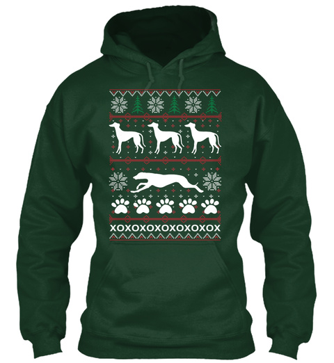 Greyhound/Whippet Holiday Hoodie Forest Green Sweatshirt Front