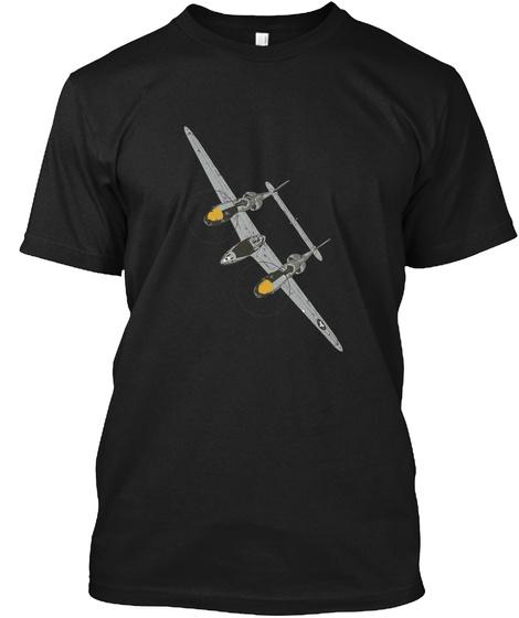 P 38 Lightning Black T-Shirt Front