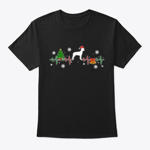 Great Dane Christmas Heartbeat Gift Black T-Shirt Front