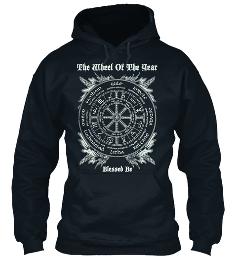 The Wheel Of The Year Blessed Be French Navy T-Shirt Front