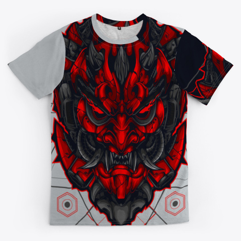 Japanese Red Mask Light Grey T-Shirt Front
