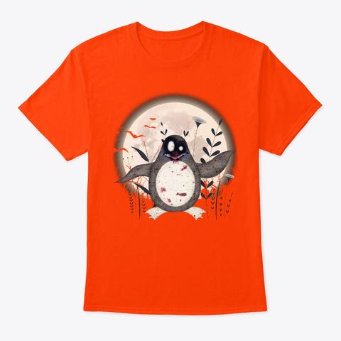 Halloween Penguin Lover Gift Zombie Orange T-Shirt Front