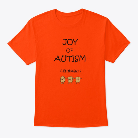 Autism Awareness Love And Peace.  Orange T-Shirt Front