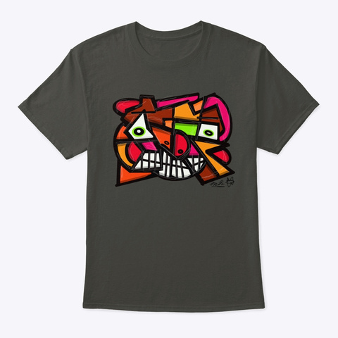 Th In King Abstract Face Smoke Gray T-Shirt Front