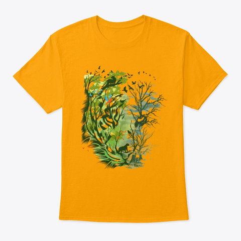 Tiger   Peace On Earth Day Gift Shirt Gold T-Shirt Front