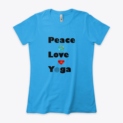 Ply ( Peace + Love + Yoga) Turquoise T-Shirt Front
