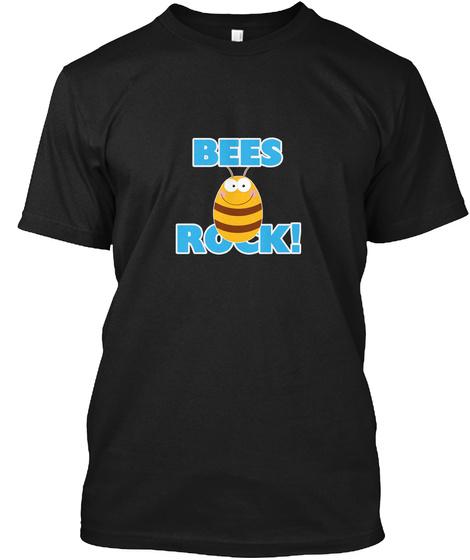 Bees Rock! Black T-Shirt Front