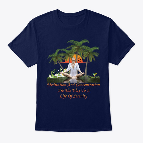 Meditation And Concentration T Shirt Navy T-Shirt Front