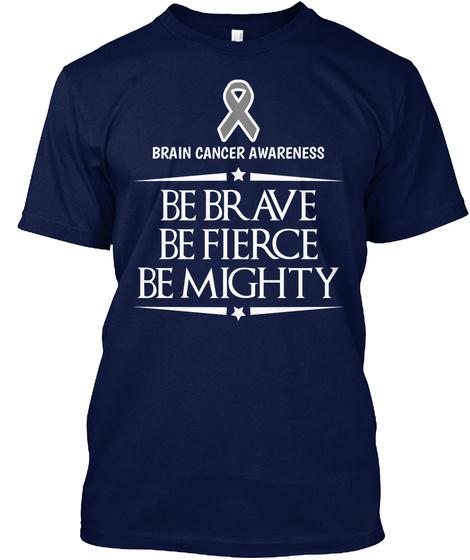 Brain Cancer Awareness Navy T-Shirt Front