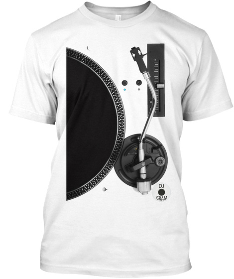 Dj Gram Turntable Tee White T-Shirt Front